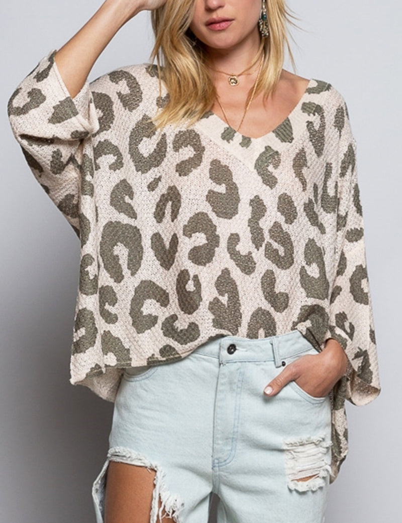 Leopard Sweater in Olive