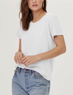 LNA Distressed Crew Neck Tee in White