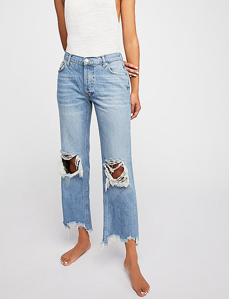 Free People Maggie Mid-Rise Straight Leg Jean in Light Stone Wash