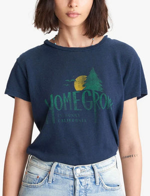 Mother Denim The Little Sinful Tee Homegrown in Navy