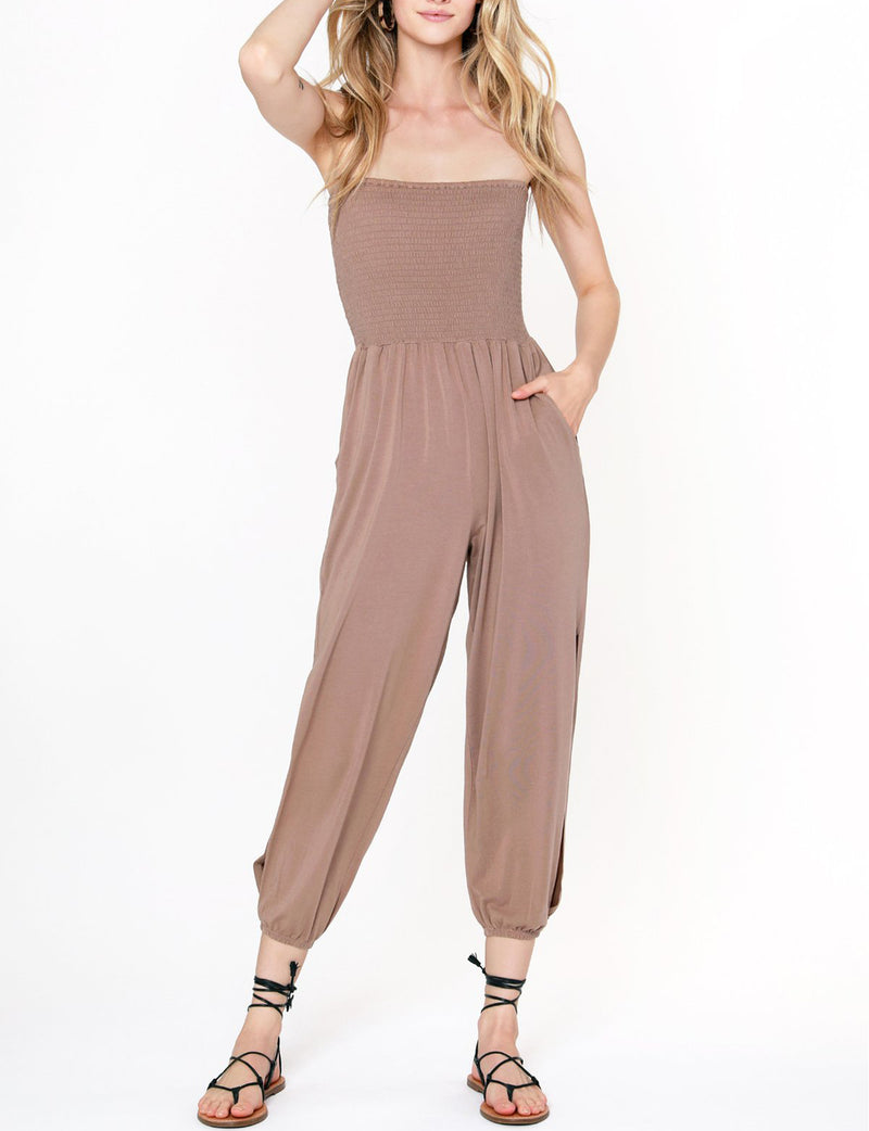 Bobi Slit Leg Smocked Jumpsuit in Java