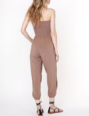 Slit Leg Smocked Jumpsuit in Java
