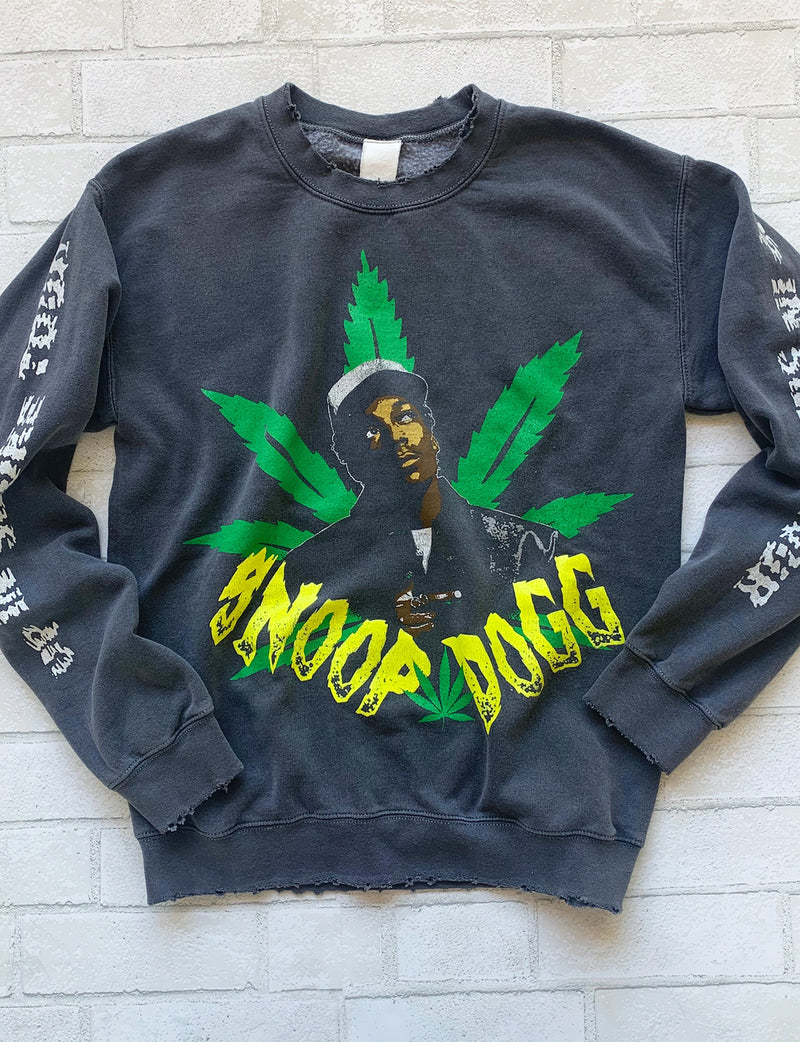 Snoop Dogg Up In Smoke Crew Fleece in Black Pigment