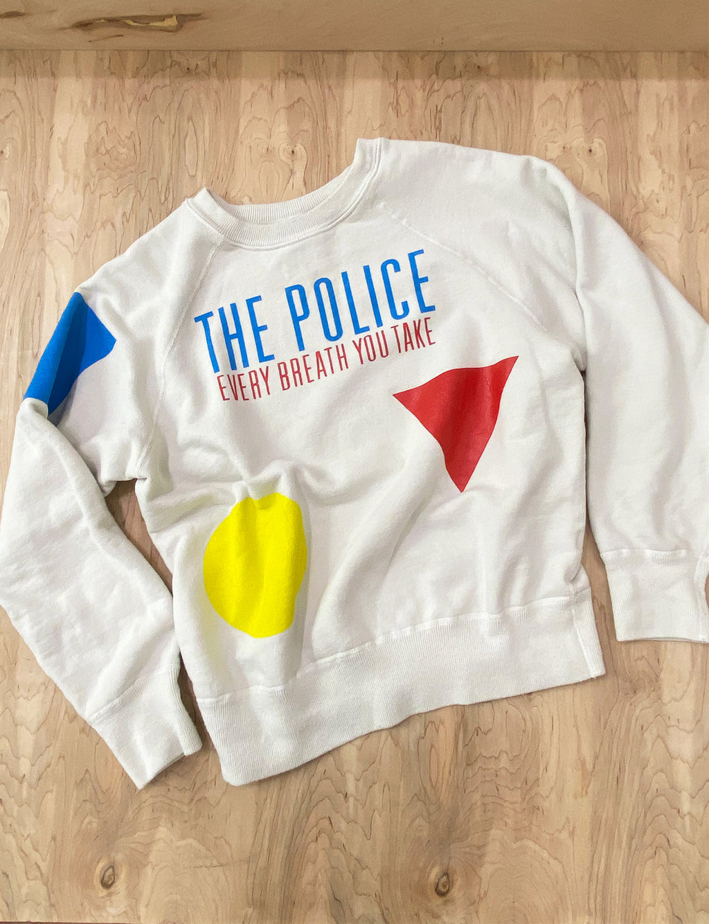 Madeworn Police Every Breath Crew Fleece in Off White