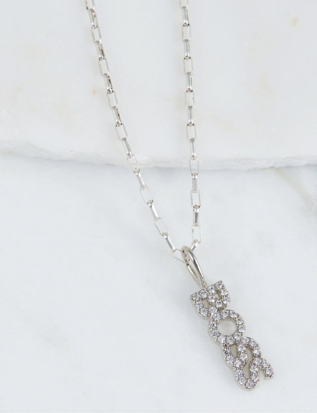 "Natalie B ""Boss"" CZ Necklace in Silver"