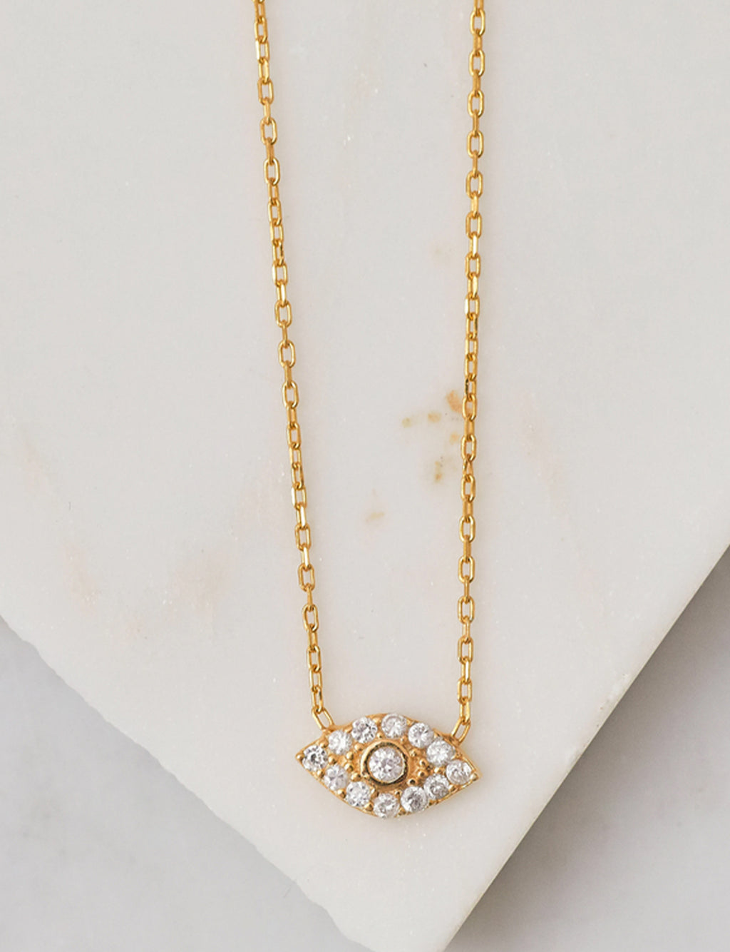 Natalie B Evil Eye Pave CZ Charm Necklace