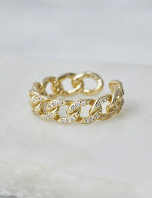 Natalie B Naia Ring Pave CZ Chain Link in 18K GP