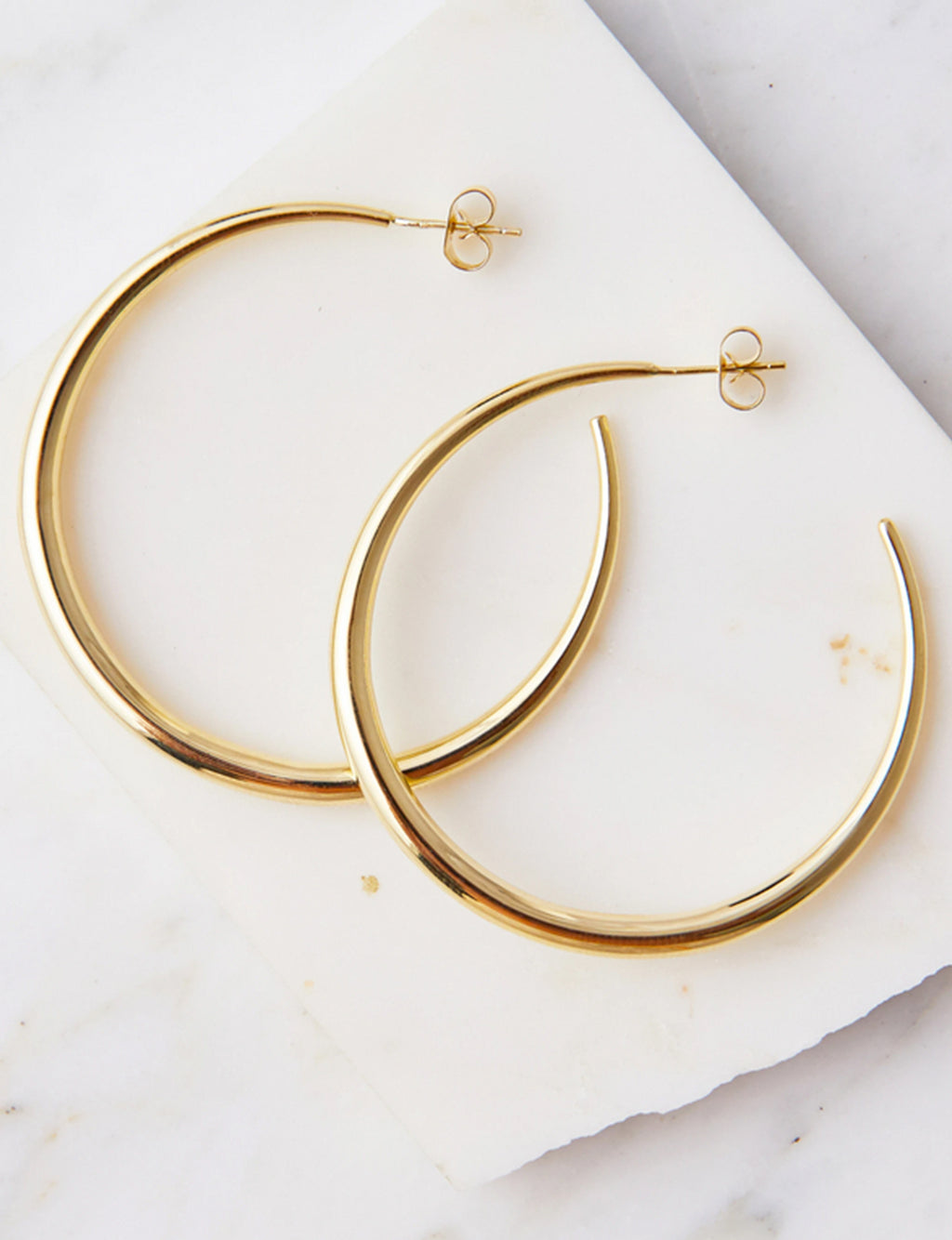 Natalie B Behare Tapered Hoops in 18K GP