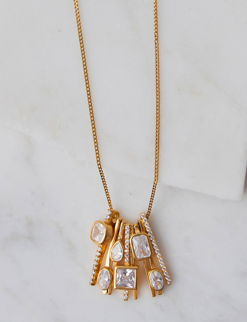 Natalie B Celine Art Deco CZ Charm Necklace in 14K Gold Plated