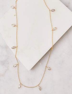 Natalie B Odessa II Marquise Drops Necklace in 14K Gold Plated