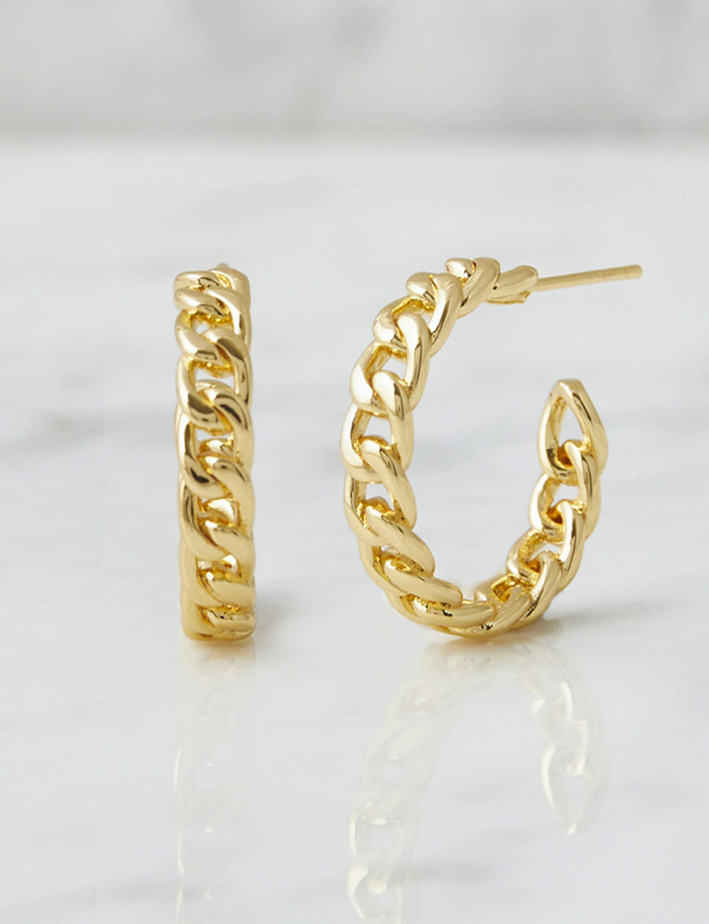 Natalie B Parker Chain Link Hoops in 18K GP