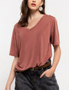 Basic Fit V Neck Tee in Brick