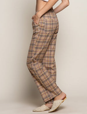 "Drawstring ""Pajama"" Pants in Olive Green Plaid"
