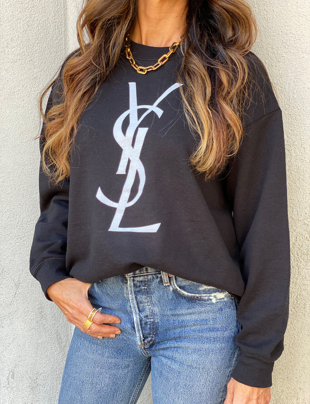 YSL Women's Sweatshirt in Black