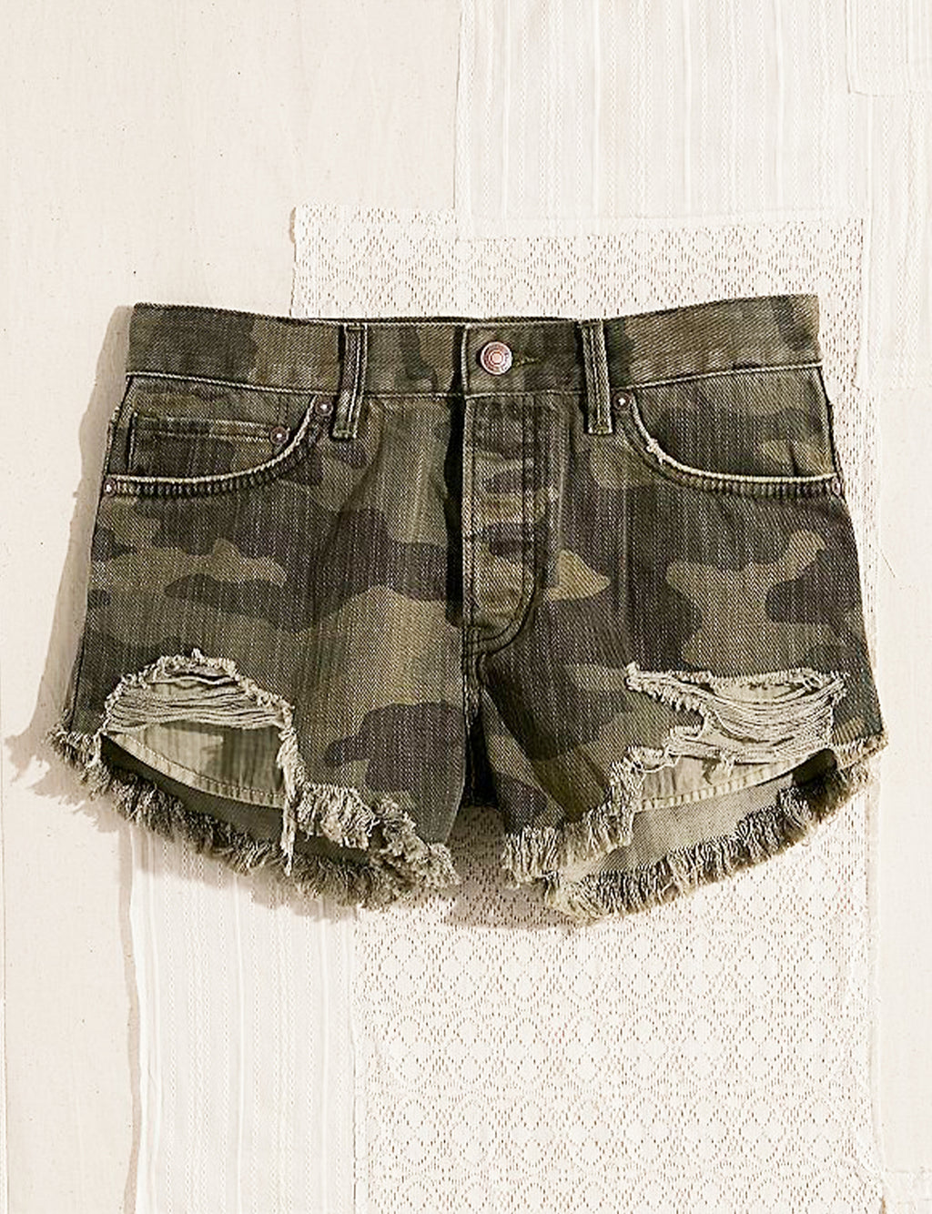 Free People Loving Good Vibrations Shorts in Camo Combo