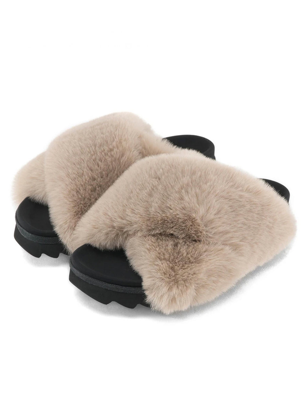 Roam Cloud Faux Fur Slide in Beige
