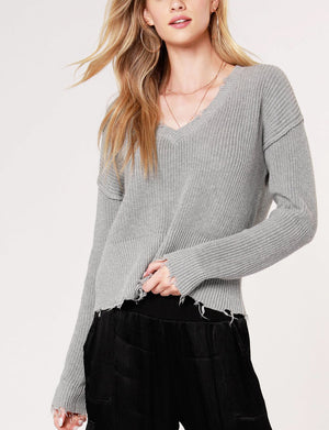Bobi Cropped V Neck Sweater in Light Grey