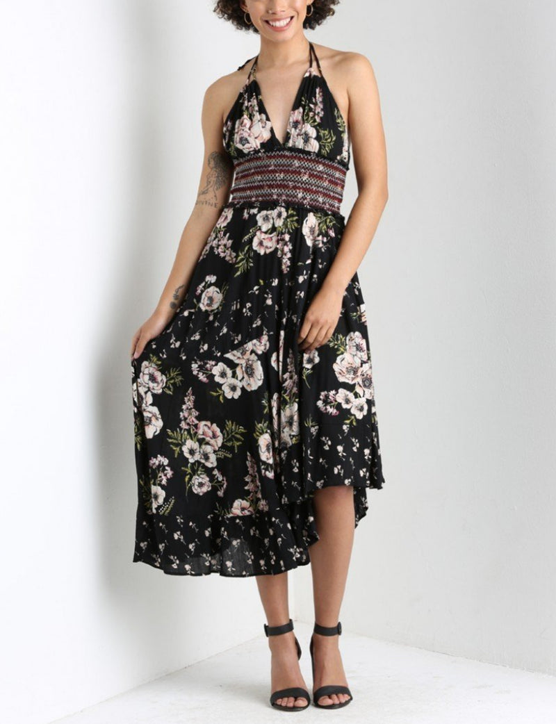 V Neck Halter Maxi Dress in Black Floral