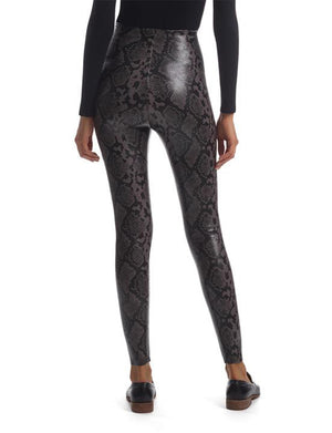 Faux Leather Legging in Grey Snake