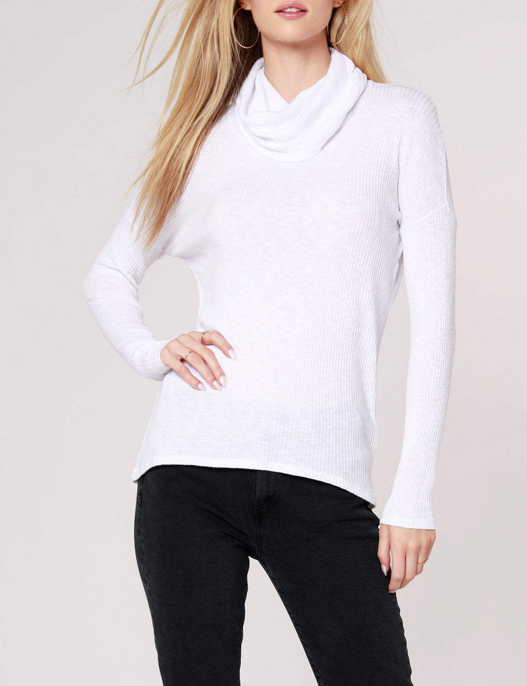 Long Sleeve Cowl Top in White