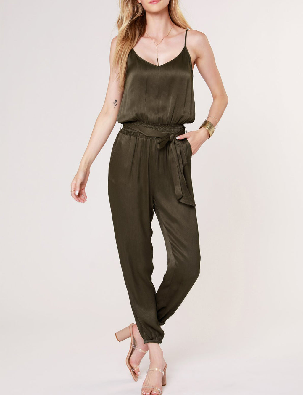 Cami Smocked Jumpsuit in Army