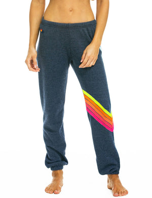 Aviator Nation Chevron Sweatpant in Heather Navy/Neon