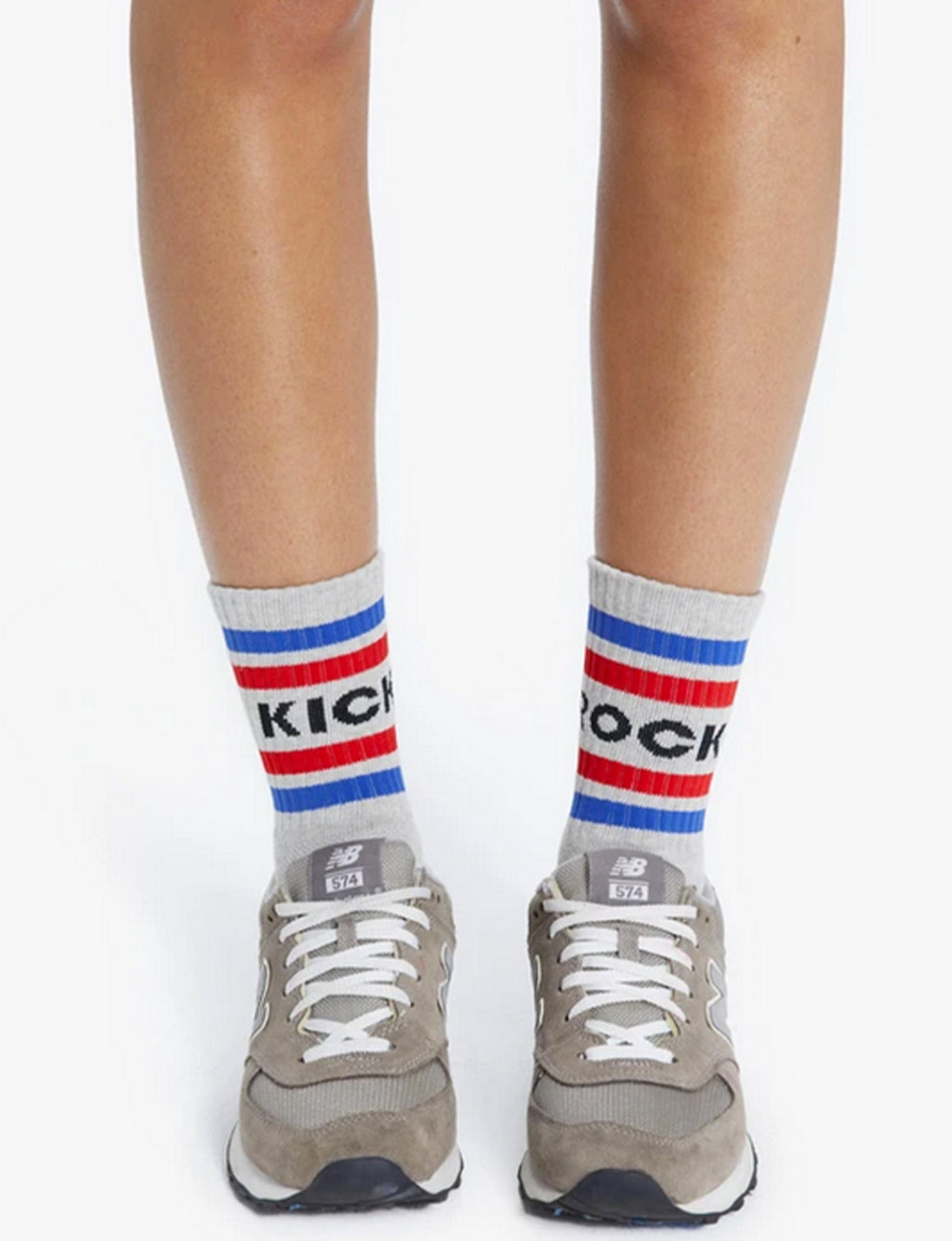 "Mother Denim Baby Steps ""Kick Rocks"" Socks in Heather Grey"