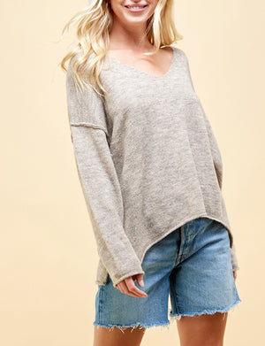 Soft V Neck Sweater in Oatmeal Grey
