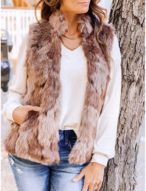 Fur What It's Worth Vest in Camel