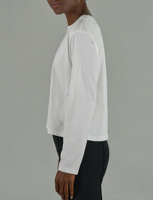 Classic Jersey Long Sleeve Boy Tee in White