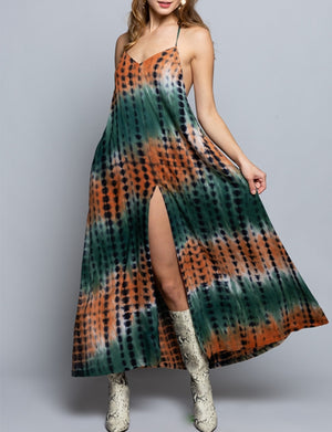 Halter Dress in Tropical Mango