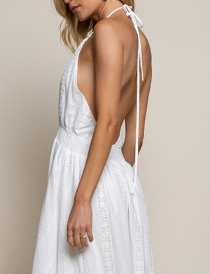 Eyelet Halter Dress in Ivory