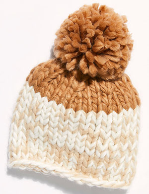 Cozy Up Color Block Pom Beanie in Camel