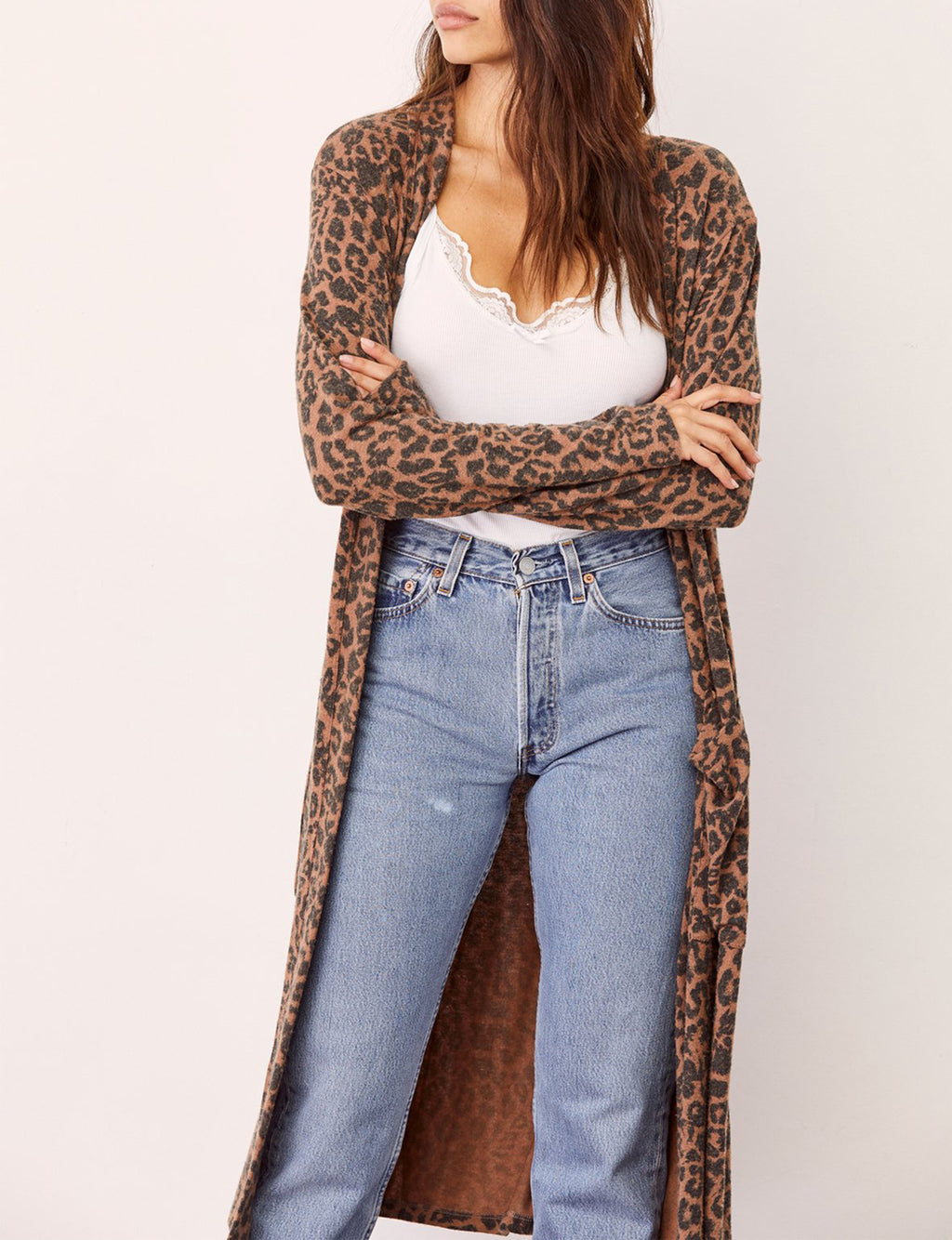Brushed Long Cardigan in Chestnut Leopard