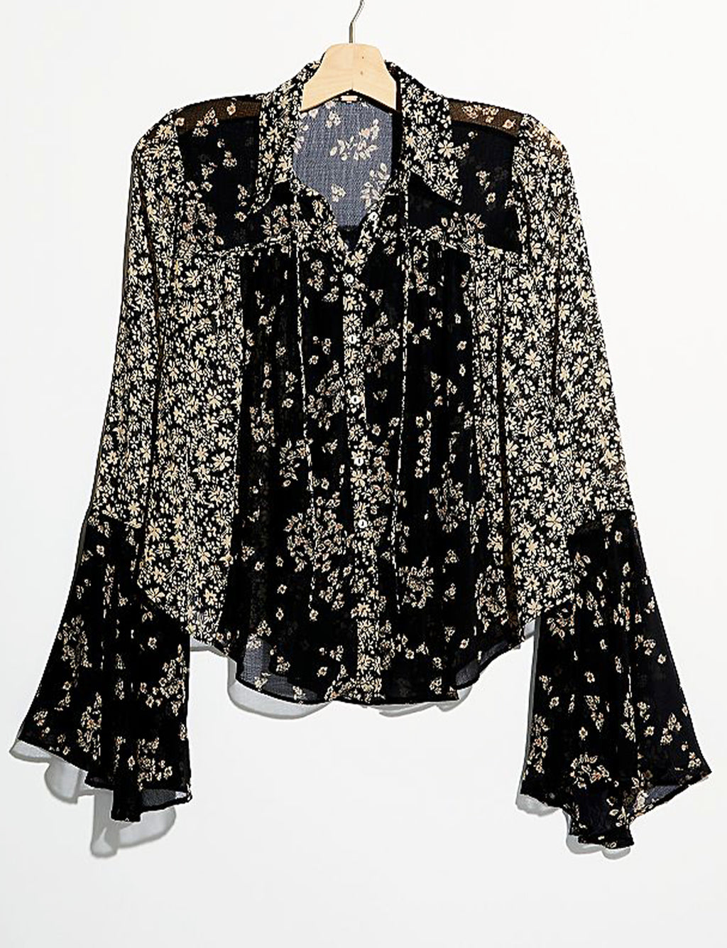 Free People Serena Printed Blouse in Black