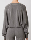 Contrast Stitch Raglan Pullover in Charcoal
