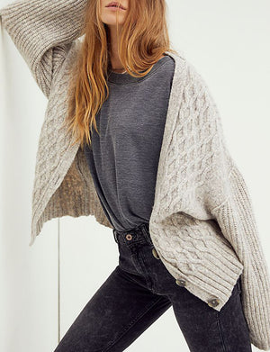 Molly Cable Cardi in Heather Grey