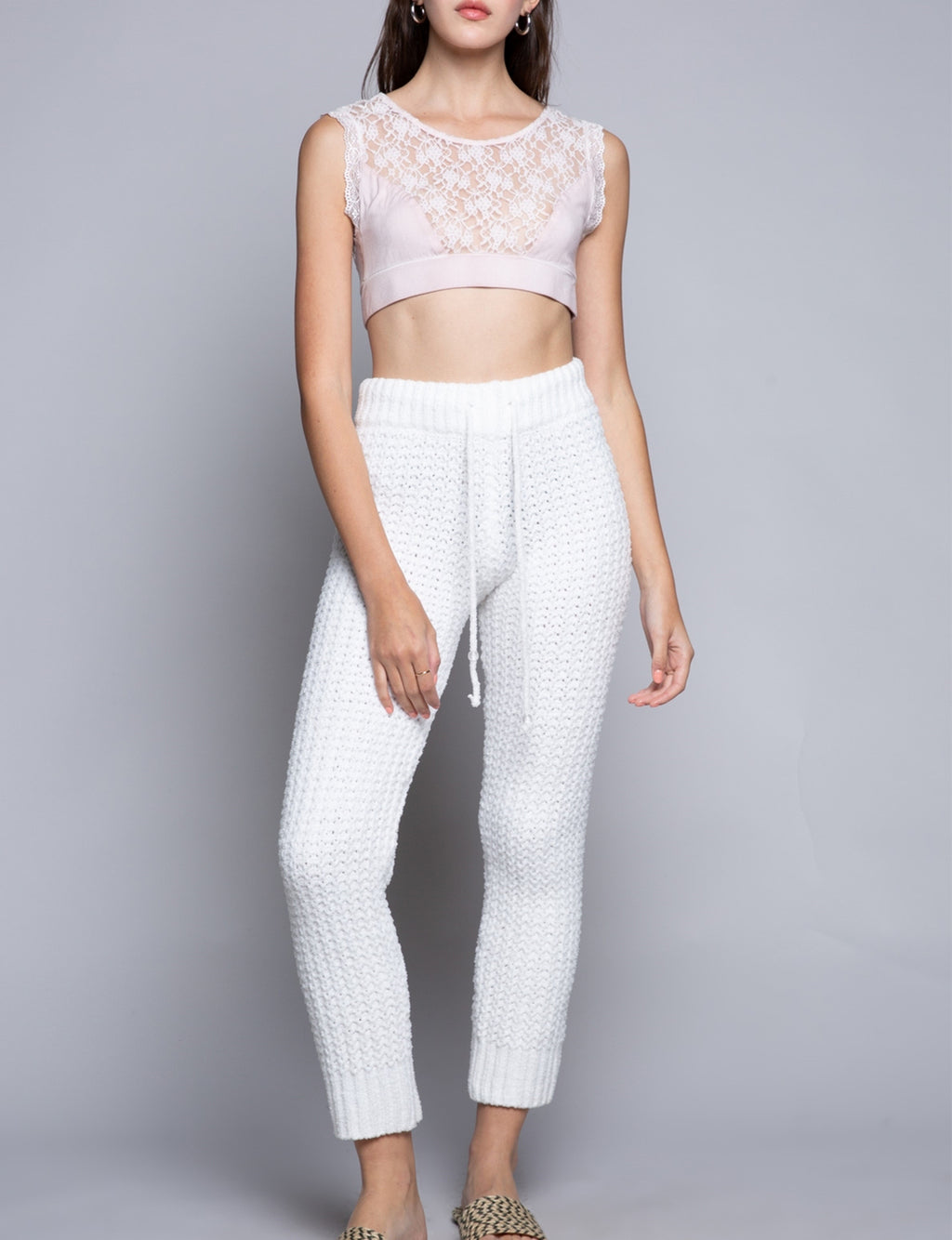 Waffle Knit Pants in Snow White