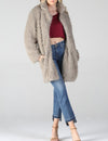 Furry Coat in Taupe
