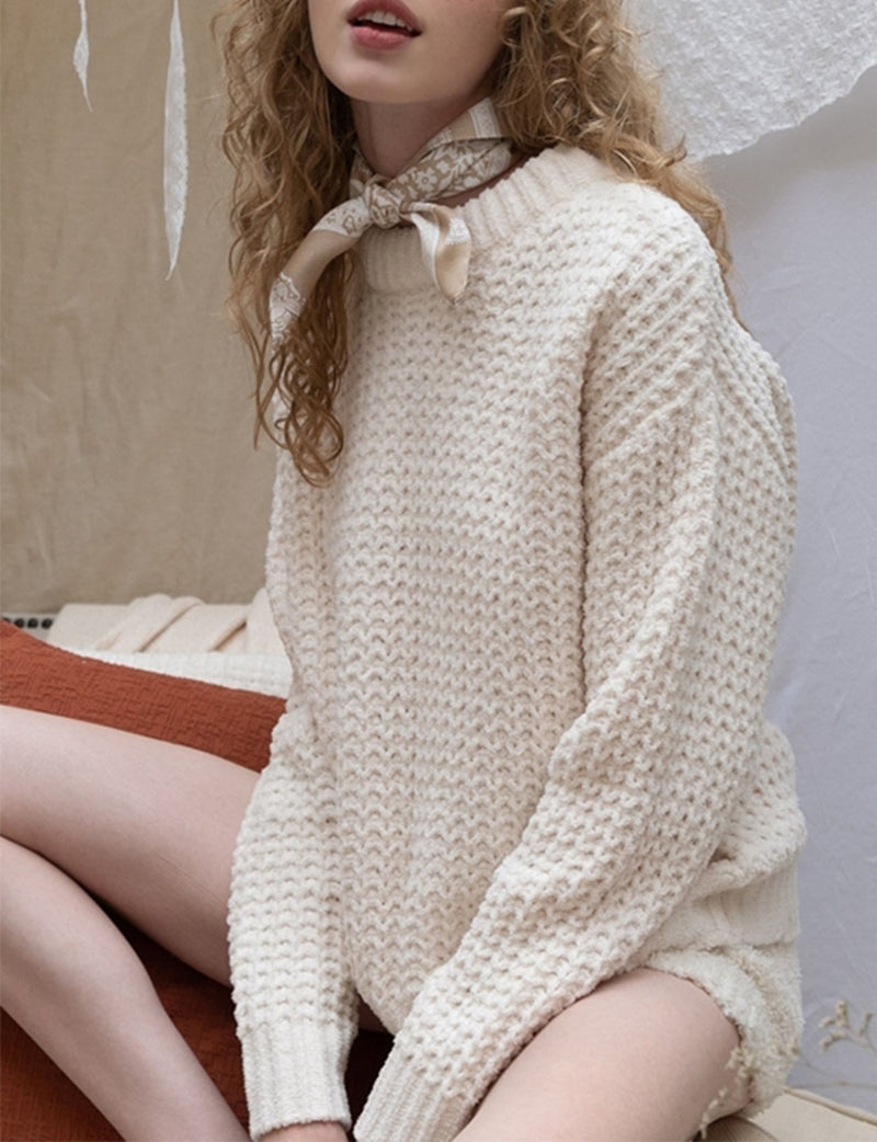 Waffle Knit Pullover in Cream