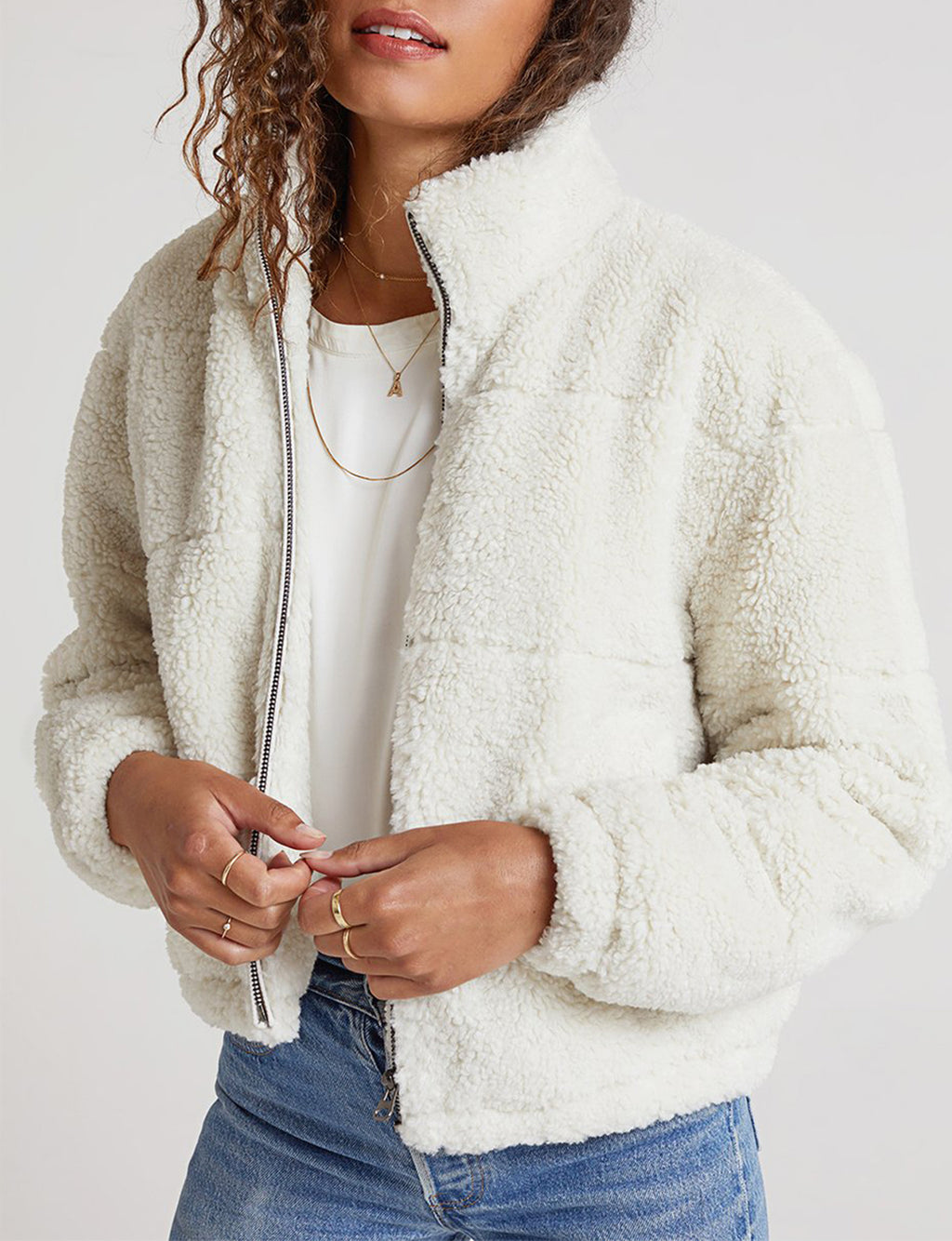 Sherpa Puffer Jacket in Winter White