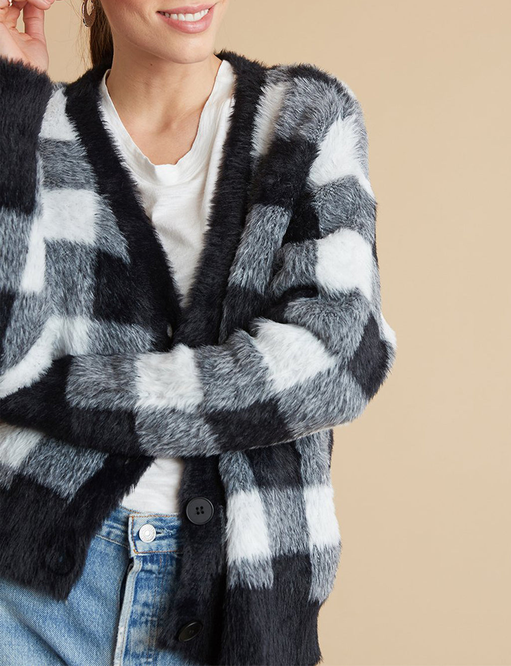 Fuzzy Buffalo Plaid Cardigan in Black/White