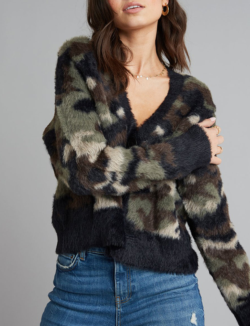 Fuzzy Camo Cardigan in Green/Black