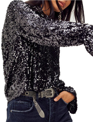 Moonstruck Sequin Top in Black