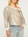 Sequin Cropped Pullover in Silver