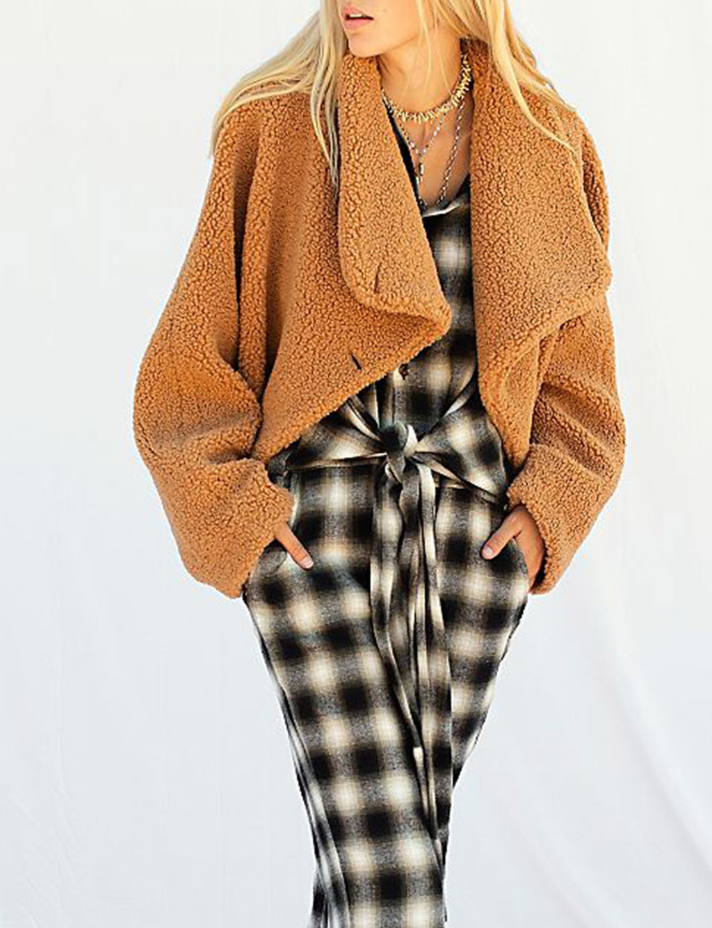 Izzy Wrap Teddy Coat in Sand