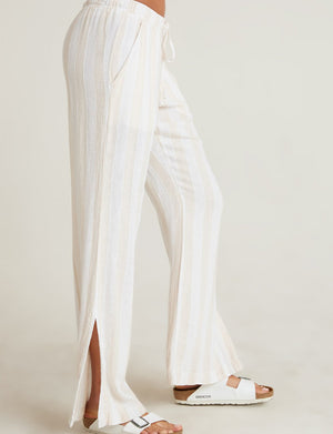 Side Slit Wide Leg Pant in Bermuda Sand