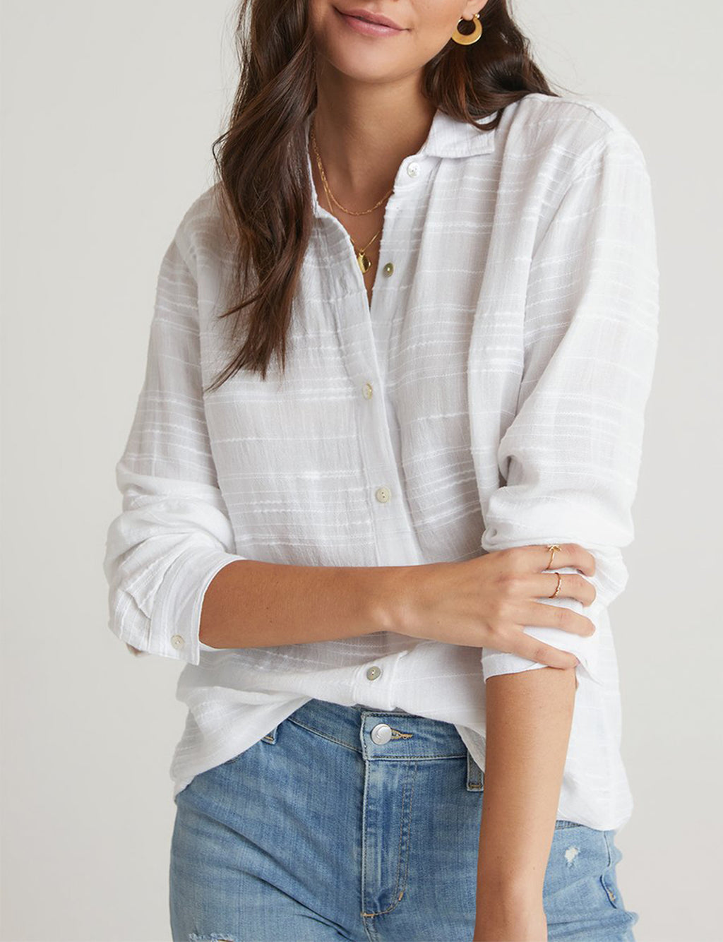 Relaxed Button Down in White