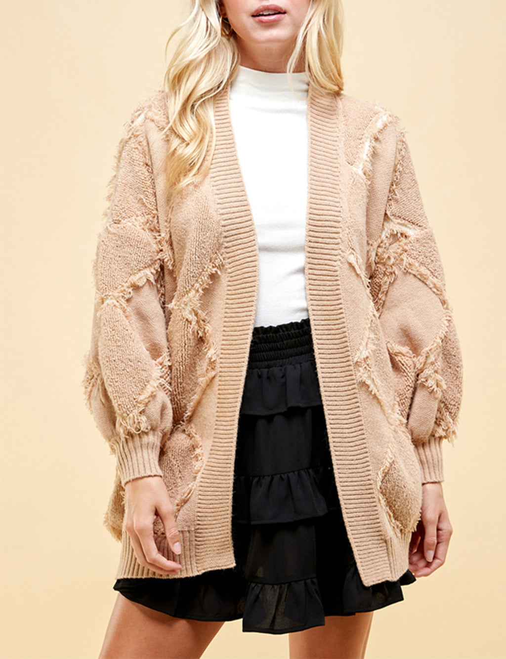 Diamond Textured Open Cardigan in Khaki/Ivory