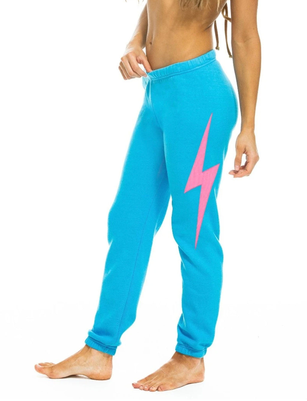 Bolt Stitch Womens Sweatpant in Neon Blue